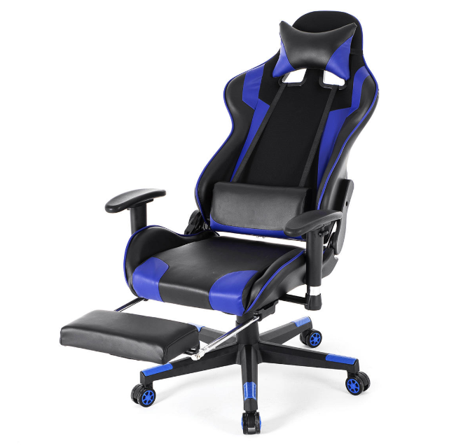 High Back Blue Gaming Chair Ergonomic Office Computer Chair Video Game Stinger Sales