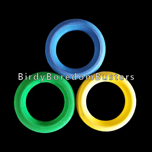 Brightly colored wood rings measuring 1.75