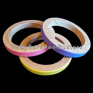 "Non-toxic, bird safe paper rings can be used as foot toys for medium or large parrots, slipped over perches or used as a toy base. Approx size (outside diameter) is 4"" by 1/2"".  Package contains 3 bagels."