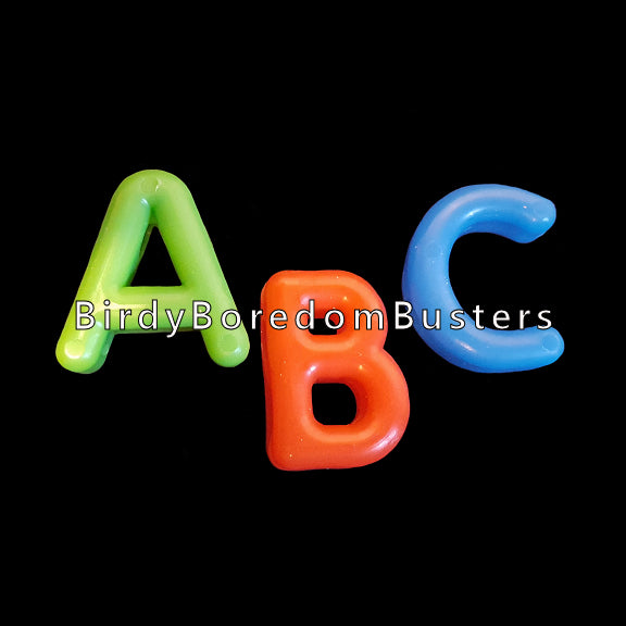 Chunky plastic alphabet beads measuring 7/8