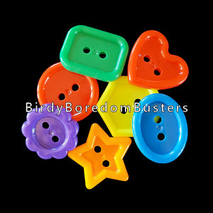 "Brightly colored acrylic buttons measuring approx 1"" in assorted shapes.  Package contains 25 buttons."