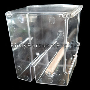 "Make feeding time less messy with this acrylic feeder. The design helps to contain the mess inside the feeder and not on your floor. Easily attaches to the inside or outside of your bird's cage.  Suitable for smaller birds such as finches, canaries, budgies, lovebirds, parrotlets, small conures, etc.  Measures 5"" wide by 4"" deep by 4-3/4"" high with a 1/2"" diameter dowel perch."