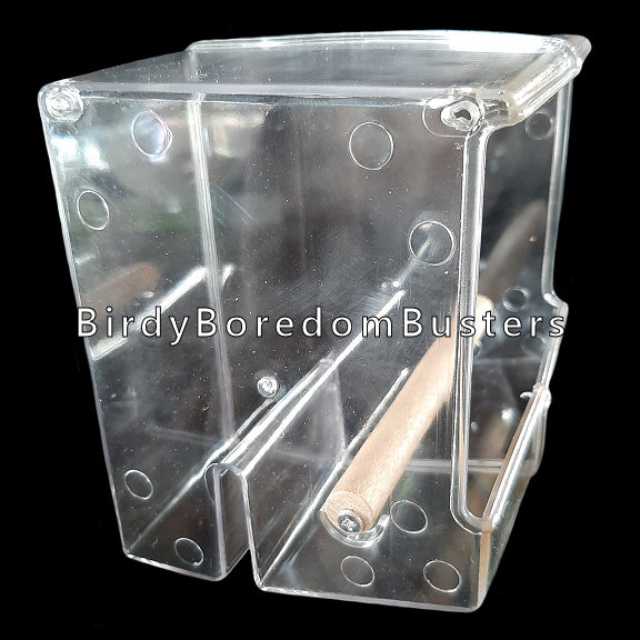 Make feeding time less messy with this acrylic feeder. The design helps to contain the mess inside the feeder and not on your floor. Easily attaches to the inside or outside of your bird's cage.  Suitable for smaller birds such as finches, canaries, budgies, lovebirds, parrotlets, small conures, etc.  Measures 5