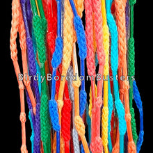 "Load image into Gallery viewer, If your bird loves shoelace or hoodie tips, this toy is for you! A plastic ring filled with colored shoelaces with aglets spaced throughout the laces. Available in two sizes.  Measures approx 4"" by 9"" (excluding top lace)"