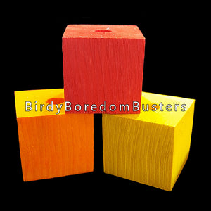 "Brightly colored pine wood blocks measuring 1-1/2"" by 1-1/2"" by 1-1/2"" with a 1/2"" center hole. Great for medium and large birds who love soft wood."