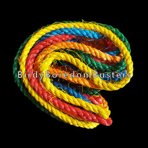 "Brightly colored 1/4"" sisal rope for making your own bird toys or repairing used toys.  Package contains six, 4 foot lengths of rope in different colors, for a total of 24 feet."