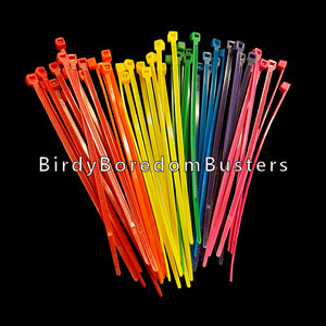 "Colored nylon zip ties measuring 4"" long. Great for making small and intermediate toys. Can also be used to attach toys to the cage or secure cage doors/travel cages for small birds.  Package contains 25 pieces."