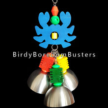 "Load image into Gallery viewer, Three large stainless steel cups with acrylic pacifiers inside each one with notched pine busy beaver blocks & big acrylic beads all strung on nickel plated chain hanging under a 3/4"" thick hand cut pine crab.  Hangs approx 13"" including link (crab measures 4"" by 5"")."