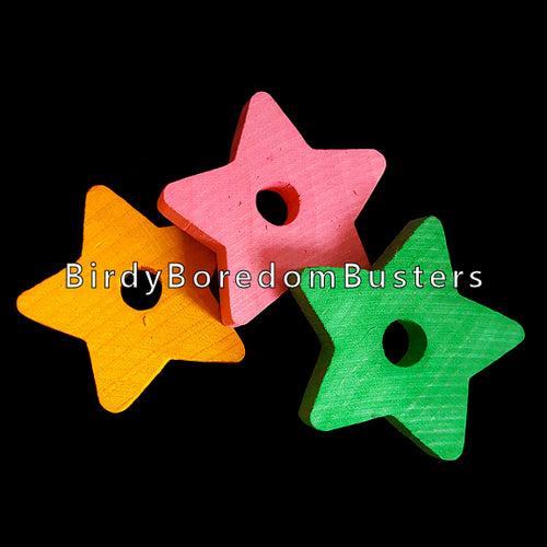 Brightly colored hardwood stars measuring 1-1/2