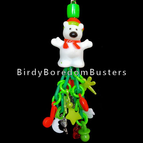 Lots of charms to rattle on plastic chain hanging under a vinyl holiday bear. Designed for budgies, cockatiels, small conures, lovebirds, etc.  Hangs approx 6-1/2