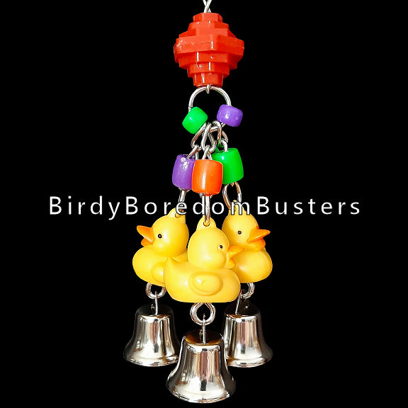 A trio of little ducks, nickel plated bells and assorted beads on nickel plated chain to rattle & bang around!