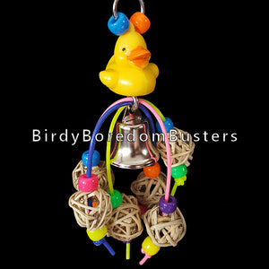 "A beak tempting mix of mini vine balls & pony beads under a little duck with a nickel plated bell.  Hangs approx 6"" including link."