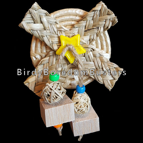 For small birds that like to chew, this toy is sure to capture their attention! A woven maize coaster with braided seagrass strips, vine balls & balsa squares. Attach to cage with included zip tie. Contains no metal parts.