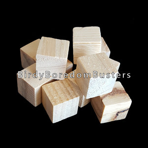 "Small, uncolored hard wood cubes measuring approx 5/8"" with no hole.  Package contains 50 cubes."