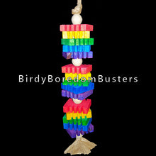 "Load image into Gallery viewer, Brightly colored 3/8"" thick notched pine slices and wood beads strung on a double strand of paper twist rope. This toy contains no metal parts.  Measures approx 1-1/2"" by 12"" including link."