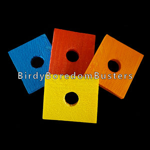 "Brightly colored, thin pine slices measuring 1-1/2"" by 1-3/4"" by 1/4"" thick with a 1/2"" hole. An excellent choice for small and mid-size birds that aren't big chewers. Also great for bunny & chinchilla toys.  Package contains 10 pieces."