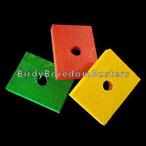"Brightly colored soft wood slats measuring 1-1/2"" by 2"" by 5/16"" thick with a 3/8"" hole. An excellent choice for mid-size birds that aren't big chewers. Also great for bunny & chinchilla toys.  Package contains 6 pieces."