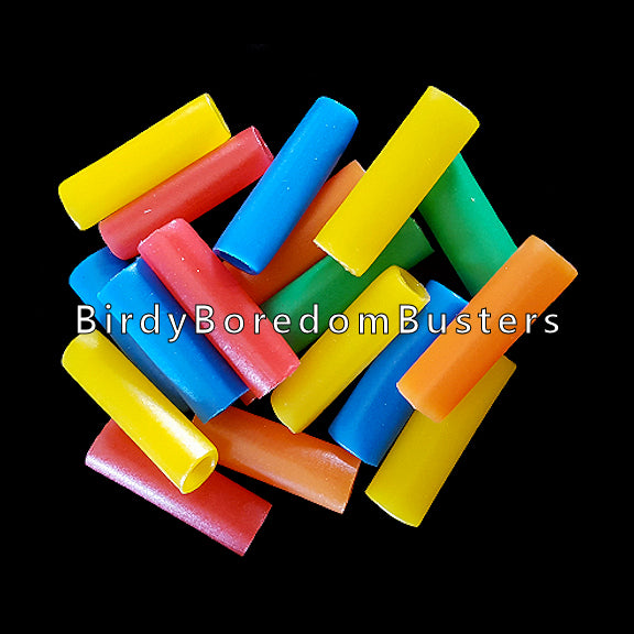 Brightly colored plastic straw beads measuring 1