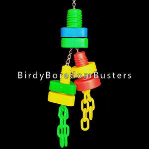 "The perfect brain teaser for the mechanically inclined bird! Colorful plastic nuts and bolts will entertain your bird while he tries to unscrew the nuts. The two bottom bolts can also be tugged back and forth. Built on nickel plated chain.  Hangs approx 12"" including link."
