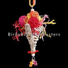 "Load image into Gallery viewer, A colorful treat for small birds who like to pick and shred! Four colored vine balls and crinkle cut paper stuffed into a vine cone. Built on stainless steel wire. Available in assorted colors.  Hangs approx 7"" including link."