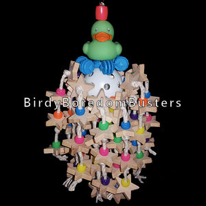 Lots of little wood stars & pony beads knotted on cotton rope on a wiffle ball. A little rubber duck and interstar ring complete this toy designed for birds that like small pieces of wood.