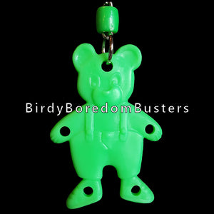 "A plastic teddy bear with four small holes. Bear is approx 3"" and includes nickel plated hardware and cool clip link. Recommended for making small and intermediate bird toys."