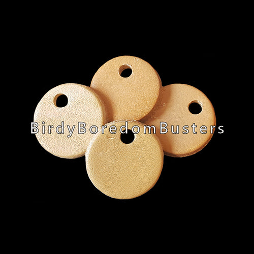 Bird-safe vegetable tanned leather rounds approx 1