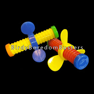 "A great foot toy that can also be used as a toy part to make your own toys. A 3"" plastic bolt with a wing nut that screws up & down the bolt.   Package contains 2 toys."