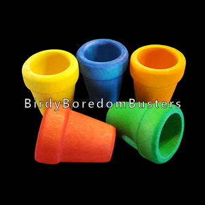"Brightly colored wood flower pots measuring 1-1/4"" high by 1"" wide at the top with a 5/16"" hole drilled in the bottom.   Package contains 6 pieces."