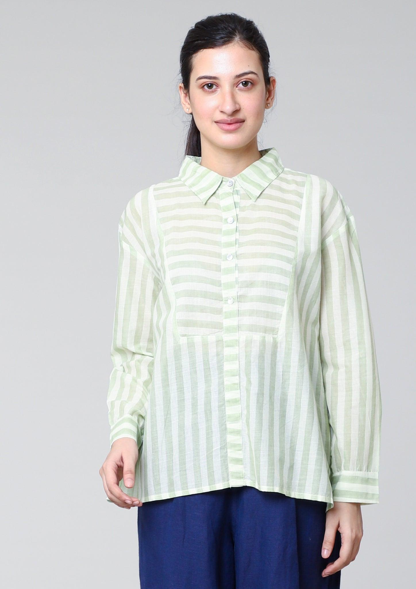 A-LINE SHIRT WITH  STYLISED FRONT YOKE