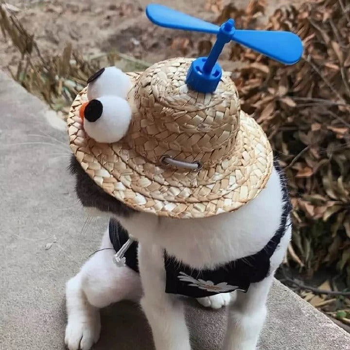 PET ROTATE BAMBOO DRAGONFLY HAT(CAT/SMALL DOG )