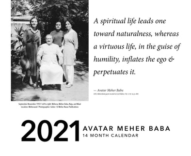 Avatar Meher Baba Calendar 2021 (pre-orders only until November 25th)