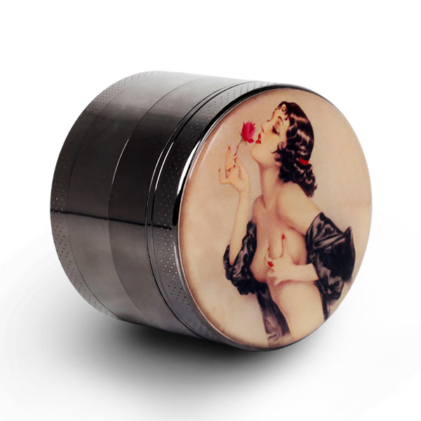 "Pin Up Girl Grinder Titanium Premium Herb Grinder 2.2"" Wide, gun-black"