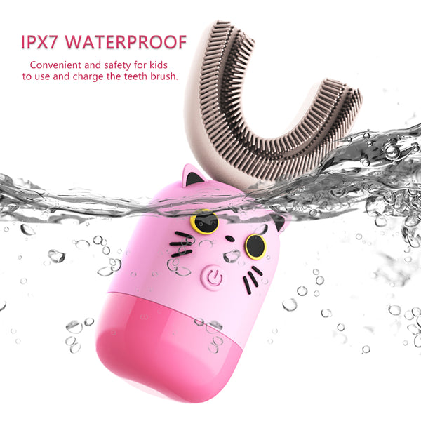 Kids Electric Toothbrush U-Shape Automatic Rechargeable 360° Toothbrush Soft Silica Gel Brush Head Waterproof for 7-12 Years Child,  Pink