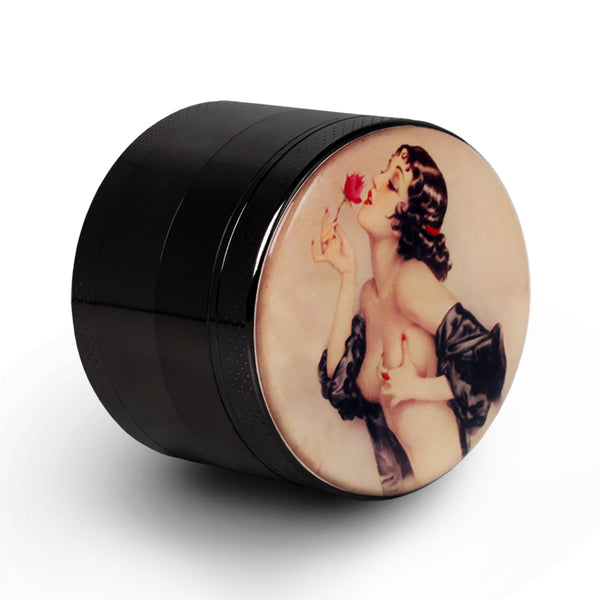 "Pin Up Girl Grinder Titanium Premium Herb Grinder 2.2"" Wide, black"