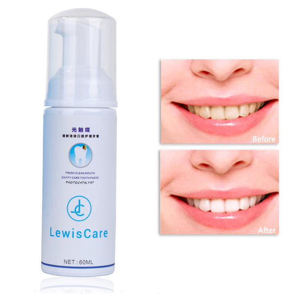 Teeth Whitening Foam Toothpaste,Natural Cavity Protection Cleaning Fresh Breath Sensitive Protection 60ml