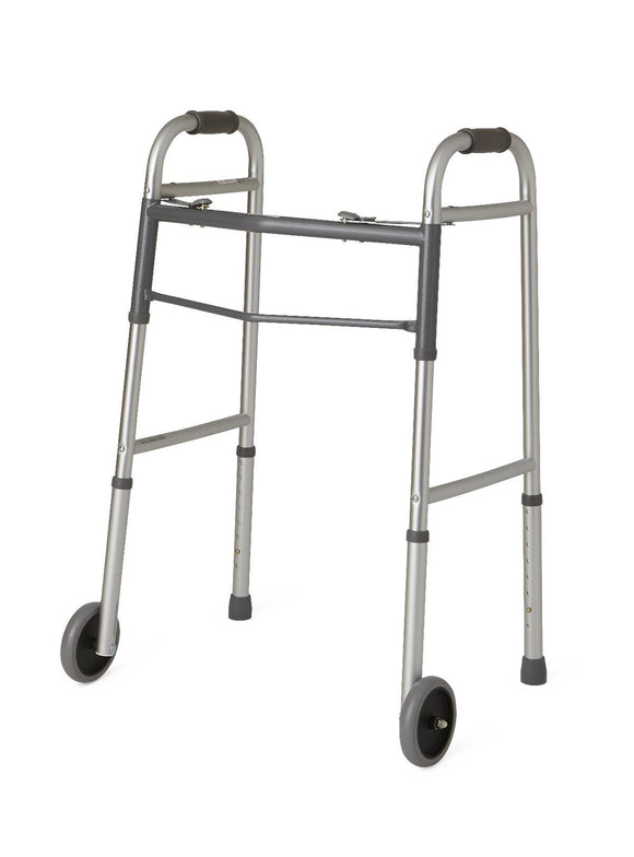 Rental Walker - Deluxe Folding, Two Button with 5