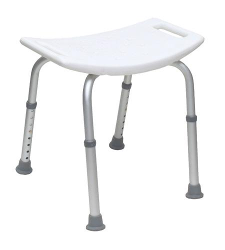 Shower Stool Without Back, Knock-Down, White - BC MedEquip Home Health Care