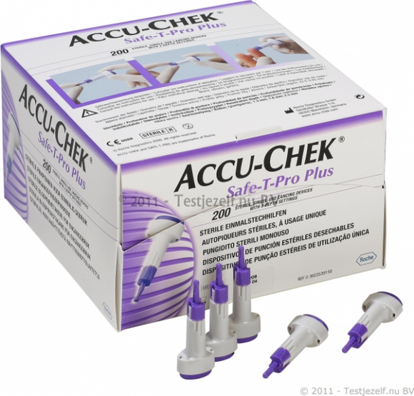 Lancet Safety Pro Plus Accu-chek - Purple and white 200/bx - BC MedEquip