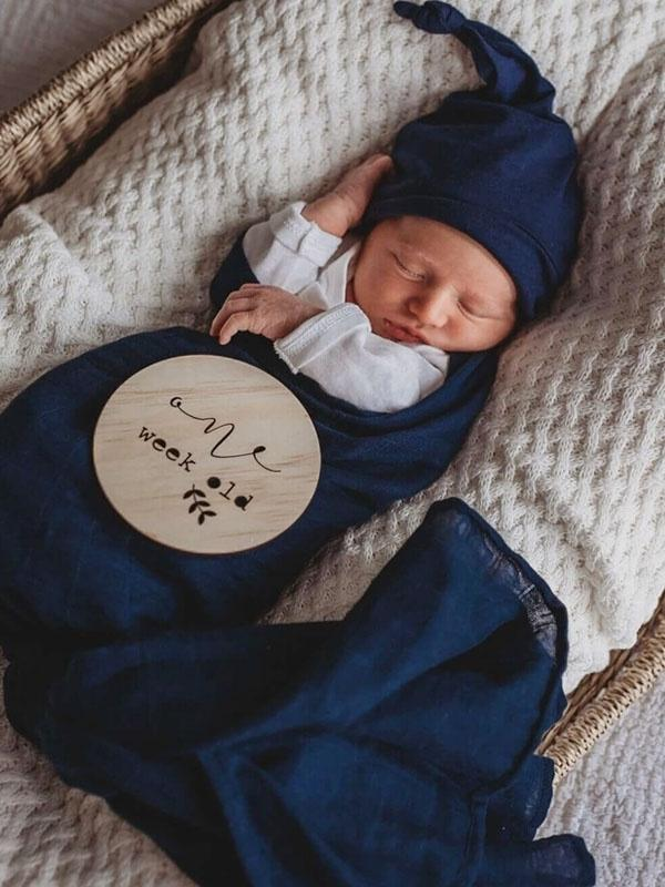 Snuggle Hunny Kids Organic Cotton Muslin Wrap Navy