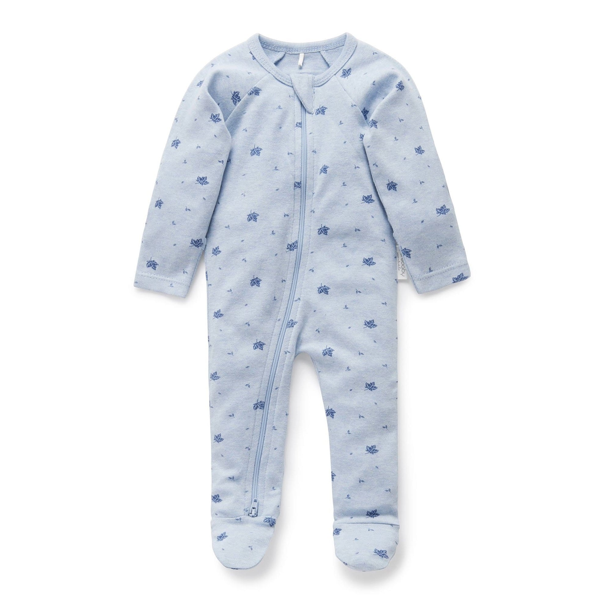 Pure Baby Pale Blue Leaf Zip Growsuit