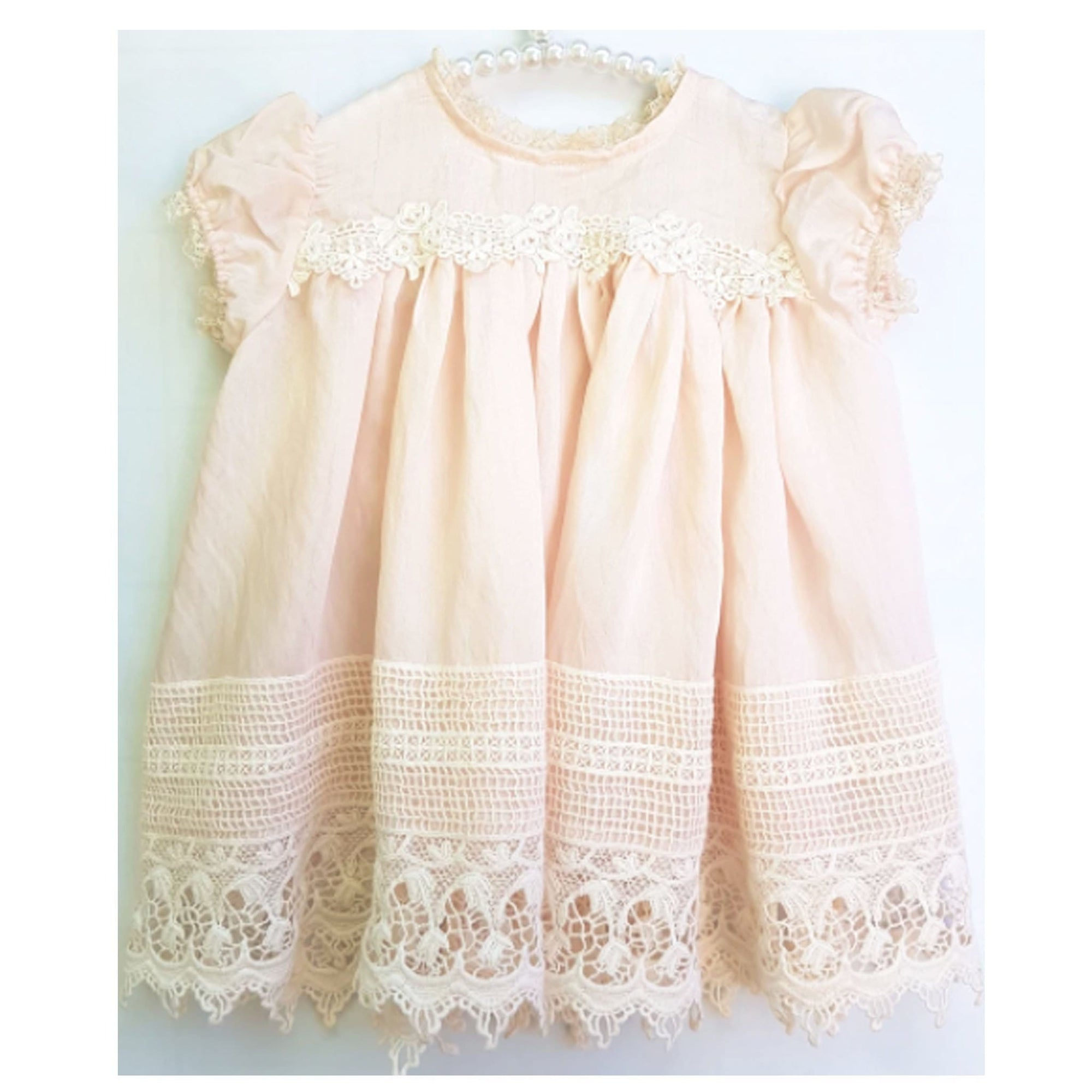 Miss Rose Sister Violet Sugar Plum Baby Dress Set Blush Pink
