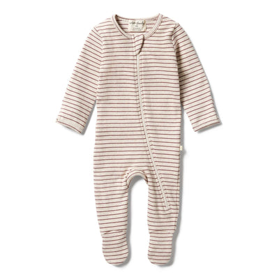 Wilson and Frenchy Organic Stribe Rib Zipsuit - Wild Ginger