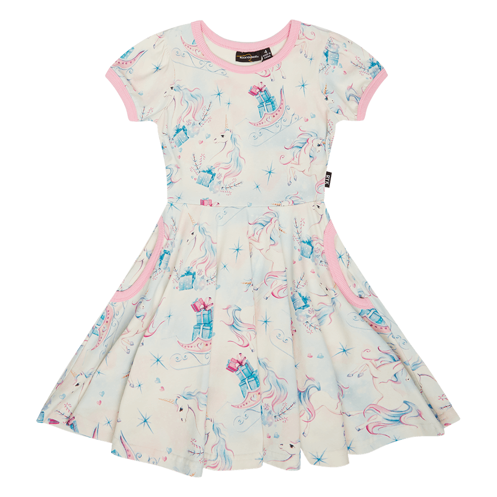 Rock Your Kid Unicorn Christmas Waisted Dress