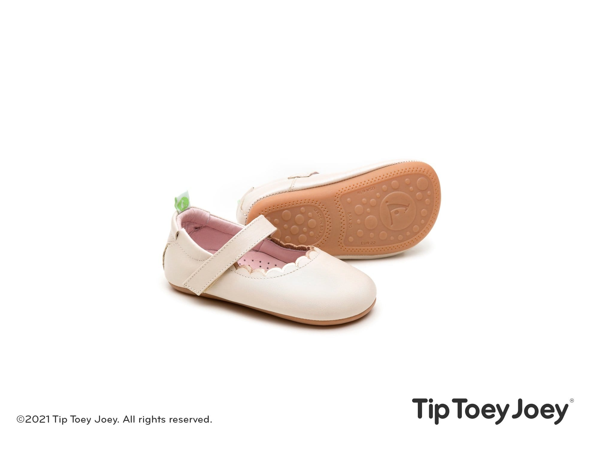 Tip Toey Joey Mary Jane Roundy - Antique White with Metalic Salmon Trip