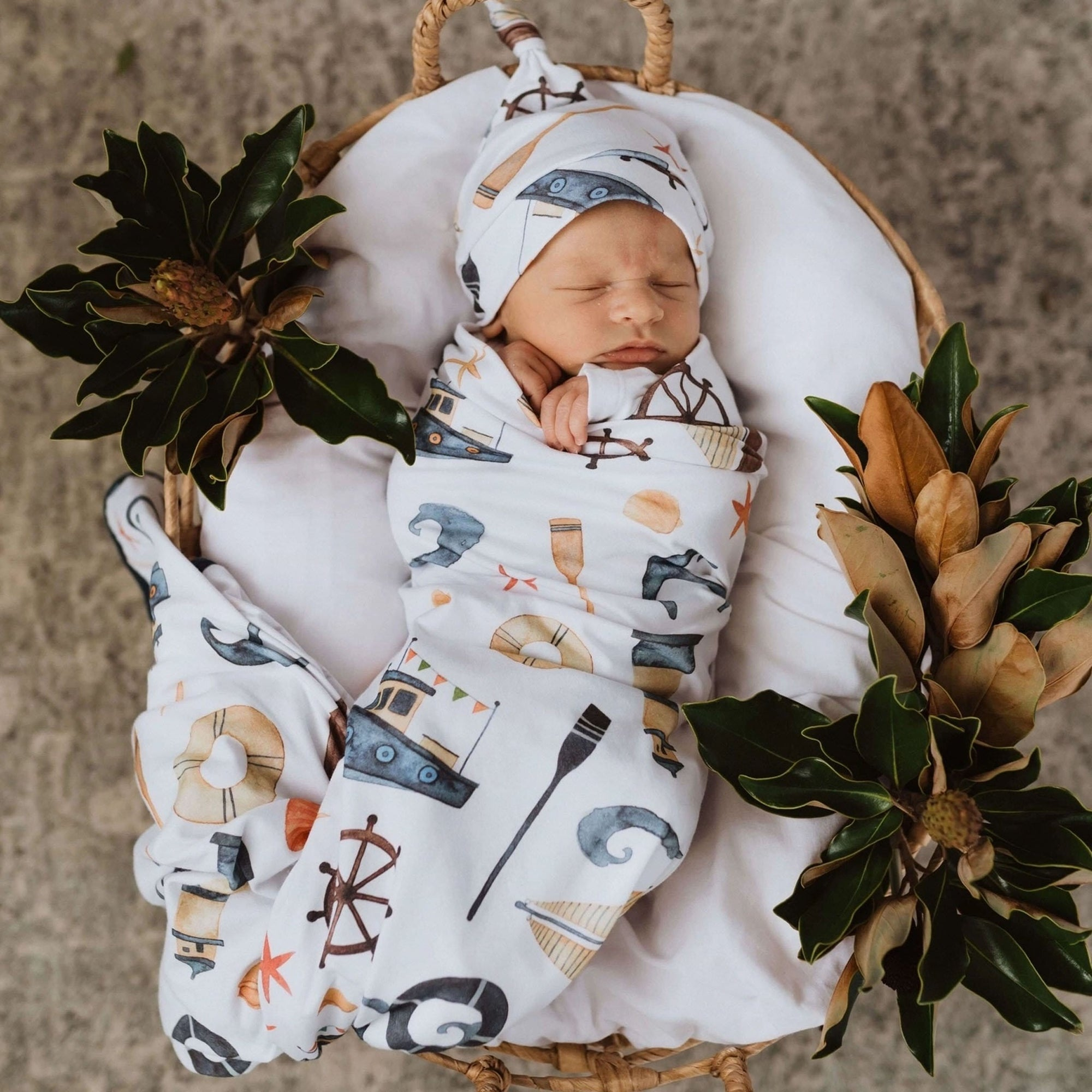 Snuggle Hunny Shipwreck Baby Wrap Set with Beanie