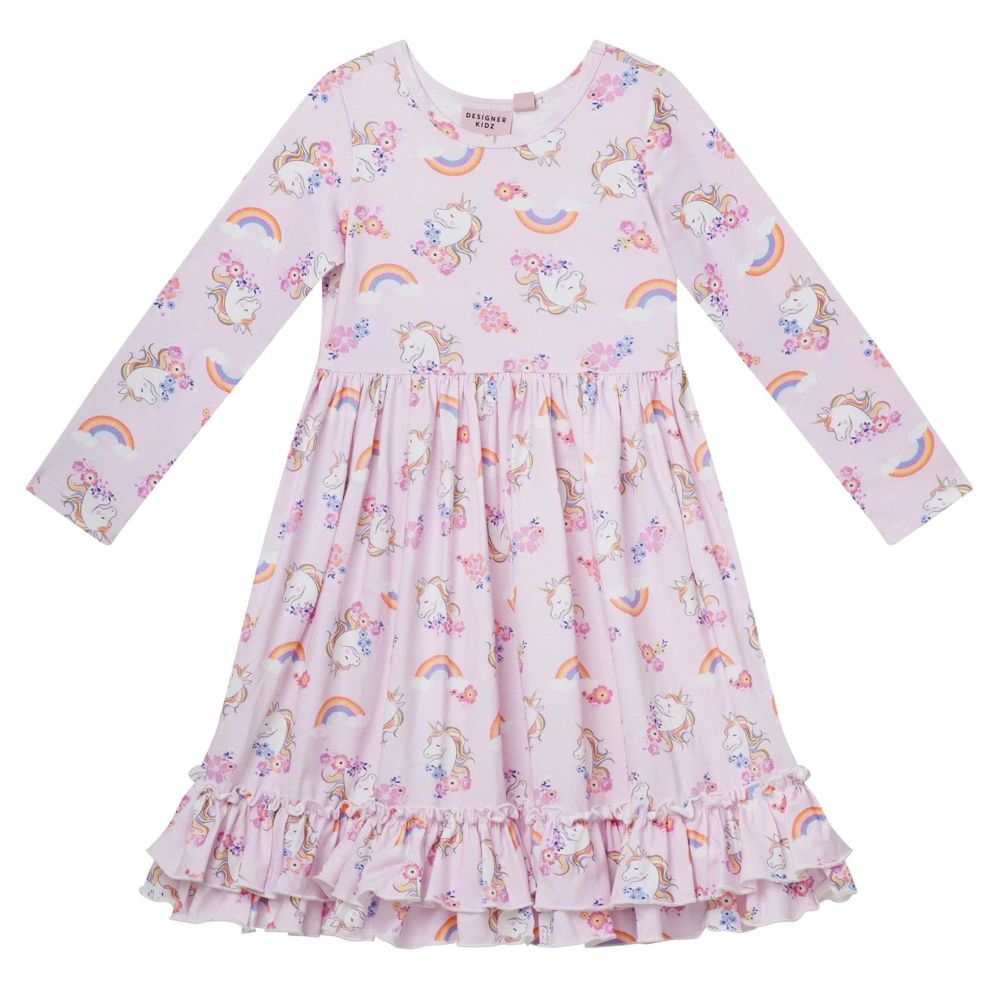 Designer Kidz Enchanted Unicorn L/S Swing Dress (5262918090905)
