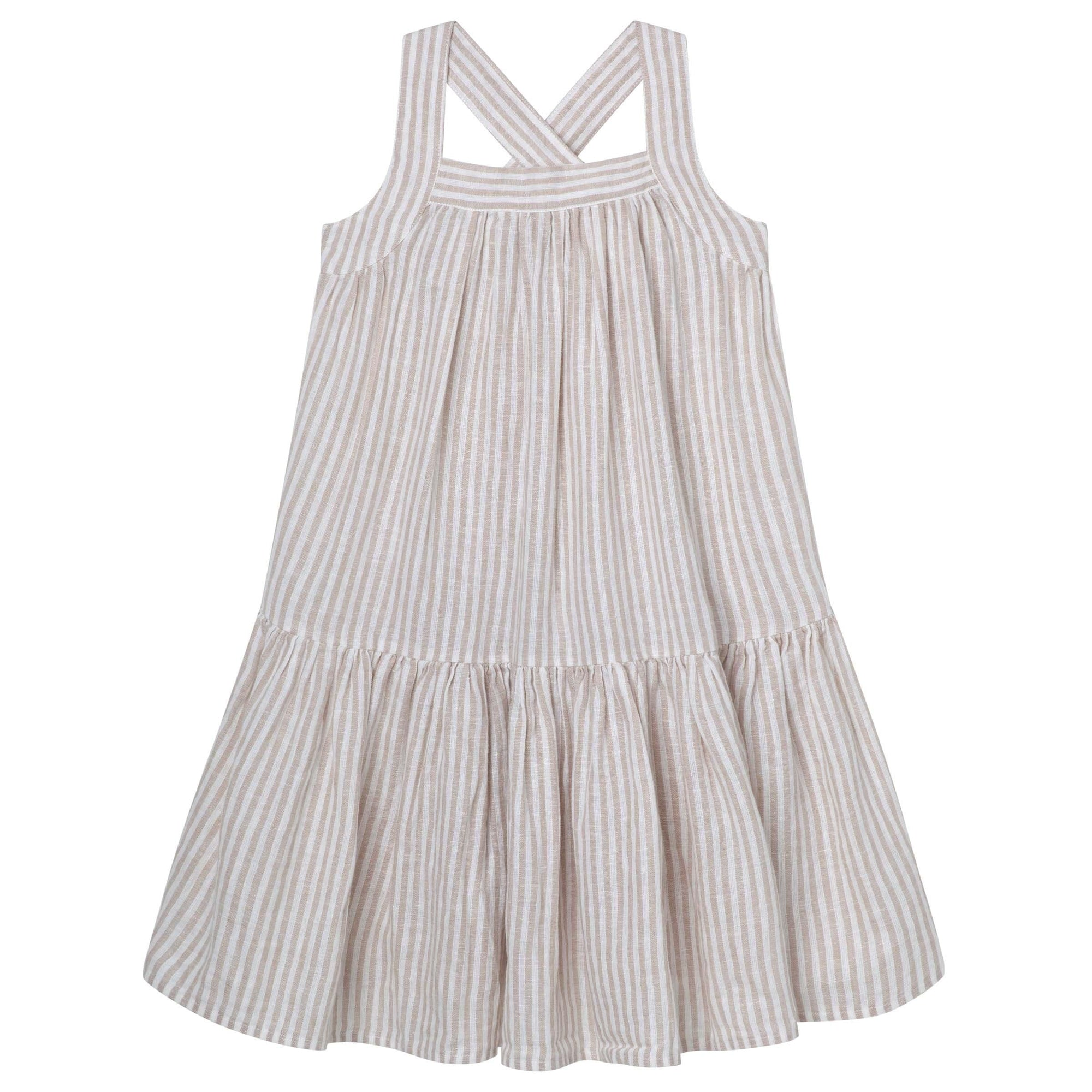 Designer Kidz Cross Strap Dress - Oatmeal Stripe