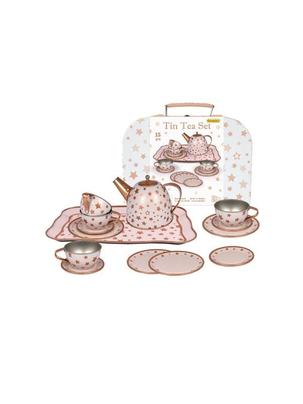 Eleganter Gold Star Tin Tea Set In Suitcase