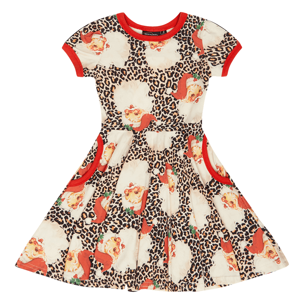 Rock Your Kid Leopard Santa Waisted Dress
